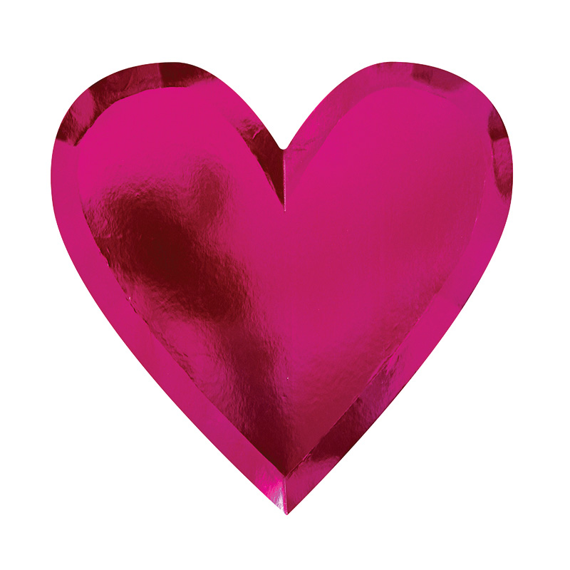 Pappteller Herz in Pink von Meri Meri
